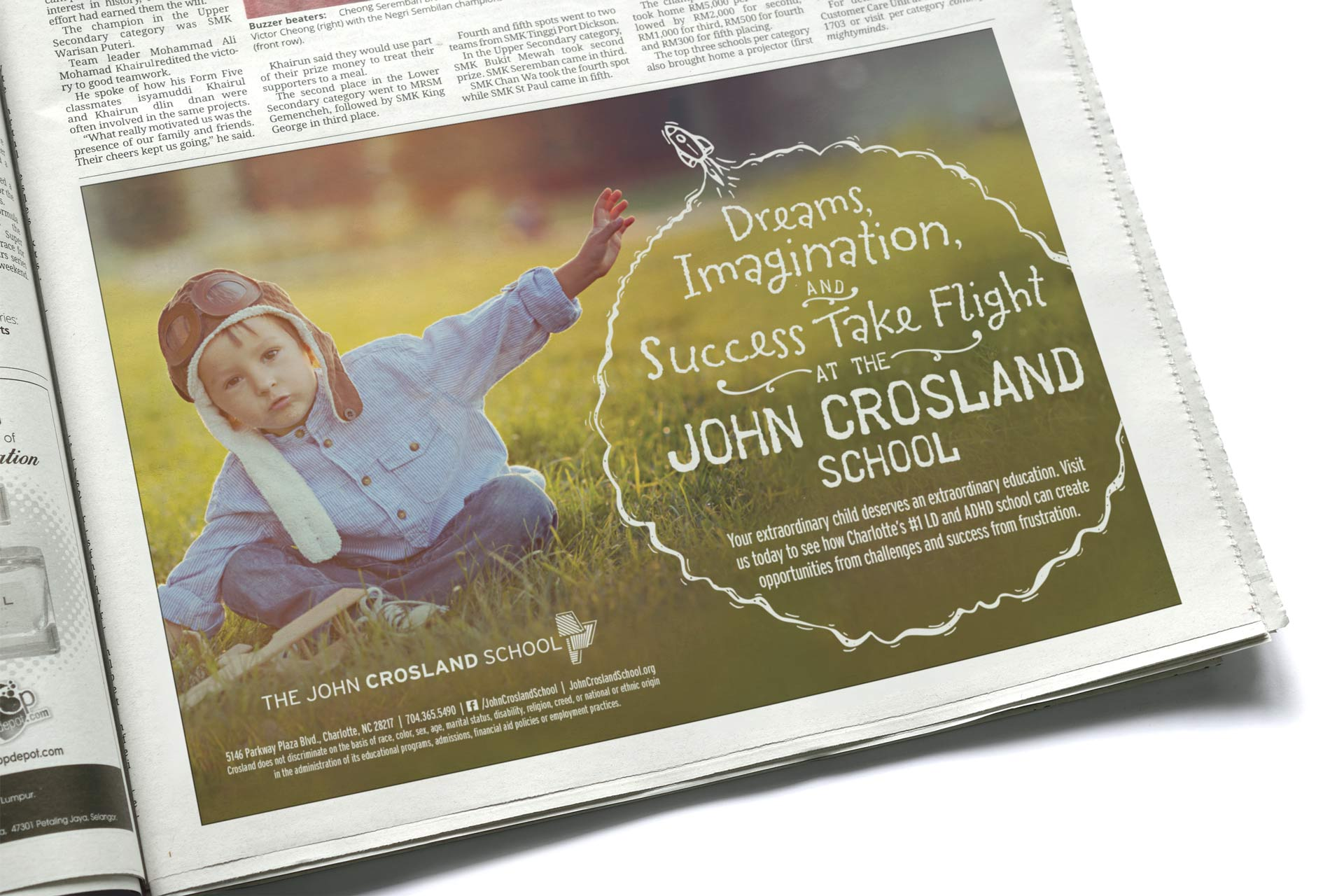 The John Crosland School Newspaper Ad